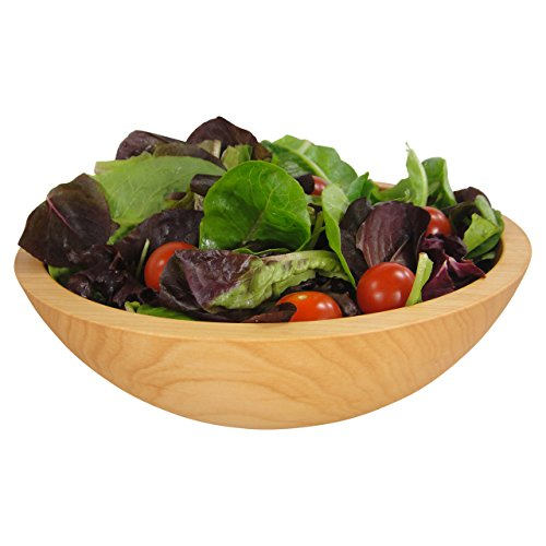 Solid Sugar Maple Wooden Bowl, Hand Turned Salad Bowl #1 Quality, 10 x 3 Inches, Serves 1-2