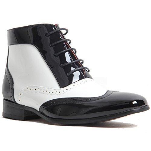 Hombre Espectador Dos Tonos Elegante Aderezo Zapatos Gánster Zapato Oxford Botines Tobillo Charol - Black &