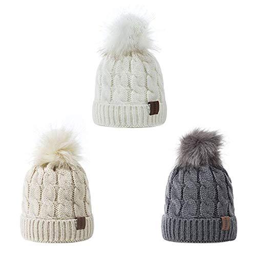 YSense 2 Pack Baby Boy Girl Winter Warm Fleece Lined Hat Infant Toddler Kid Crochet Hairball Beanie Knit Cap (0-5 Years)