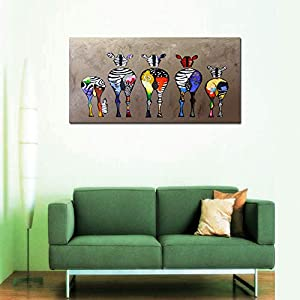 D72550 Canvas Prints Wall Art Paintings Animal Painting Five Colorful Zebra Modern Art Stretched Ready to Hang for Living Room Bedroom Decoration