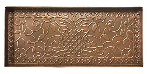 HF by LT Pineapple Design Metal Boot Tray, 30'' x 13'', Antique Copper Finish by HOME FURNISHINGS BY LARRY TRAVERSO