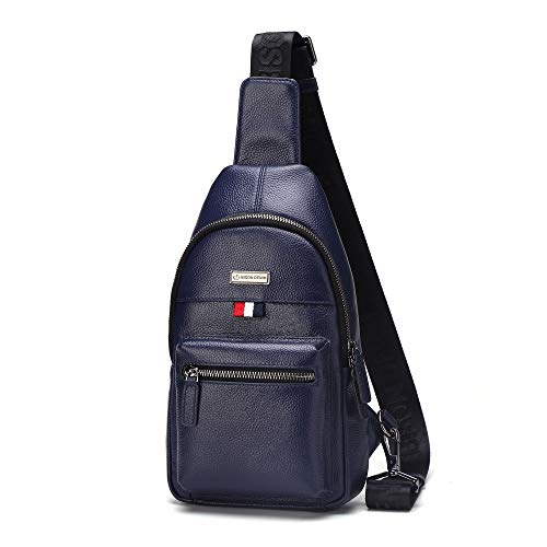 BISON DENIM Genuine Leather Sling Shoulder Backpack Crossbody Sling Bag Front Cross Body for Men