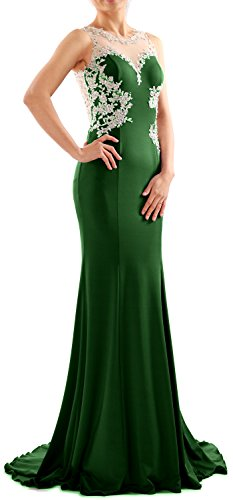 MACloth Women Mermaid Lace Jersey Long Prom Dress Formal Party Evening Gown  Verde Oscuro