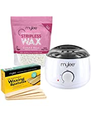 Mylee Professionele waxkit met waxverwarmer, harde waxparels (500 g), applicatiespatel – streeploze ontharing, pijnvrije, zachte ontharing over het hele lichaam, gezicht en bikinizone, gemaakt in het Verenigd Koninkrijk