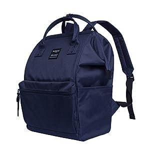 Canvas School Backpack, Waterproof College Laptop Bookbag, Wide Opening Large Capacity Big Student Bag, Multi-Functional Travel Backpack for Men and Women-Blue