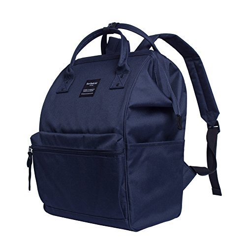 Canvas School Backpack, Waterproof College Laptop Bookbag, Wide Opening Large Capacity Big Student Bag, Multi-Functional Travel Backpack for Men and Women-Blue