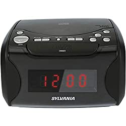 Sylvania Alarm Clock Radio with CD Player and USB Charging (Renewed)