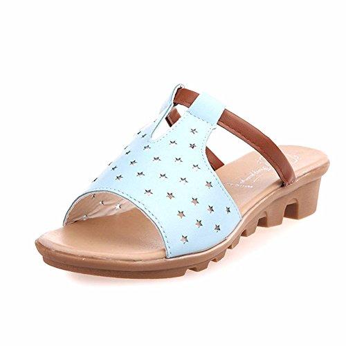 YUCH Zapatillas De Mujer con Ahuecado Pendientes Y Zapatos Diariamente Blue