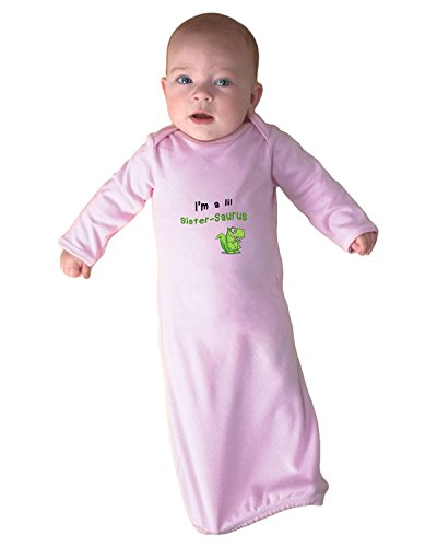 Green Dinosaur Dino Little Sister-Saurus Infant Baby Rib Layette Sleeping Gown Only Soft Pink ()