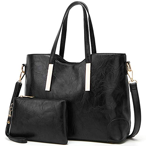 TcIFE Purses and Handbags for Womens Satchel Shoulder Tote Bags Wallets, 2-black, Medium