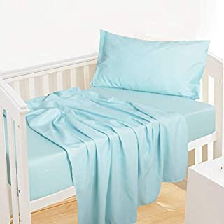 NTBAY 3-Piece Microfiber Toddler Sheet Set, Solid Crib Fitted Sheet Flat Sheet and Envelope Pillowcase, Baby Bedding Sheet & Pillowcase Sets, Light Blue