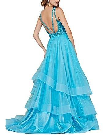 Ankang Womens Backless Floor Length Beaded Prom Dress Long Bridesmaid Dress Gowns