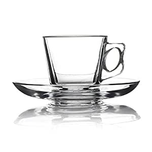 Kulplu cam, kahve - çay bardağı kulplu ve altlıklı set halinde 6 adet, 80 cc, Vela Style Pasabahce