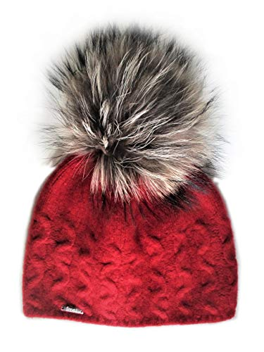 Frost Hats Cashmere Cable Hat with Detachable Genuine Fox Fur Pom CSH-735SRN (Red)