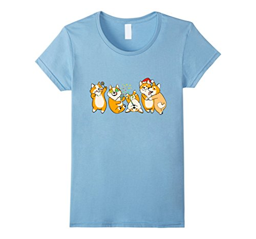 Womens Corgi Party Most Festive and Adorable Christmas Dog T-Shirt Large Baby (Mag Popper)
