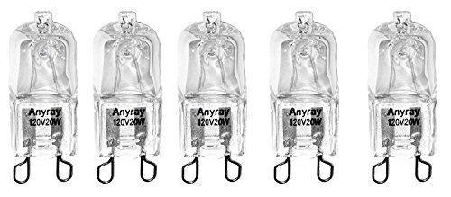 Anyray A1712S (5)-Pack 20 Watt G9 SHORT T4 20W Clear Halogen Bulb Bi Pin 120 Volt 20Watt 1-3/8'' long by Anyray