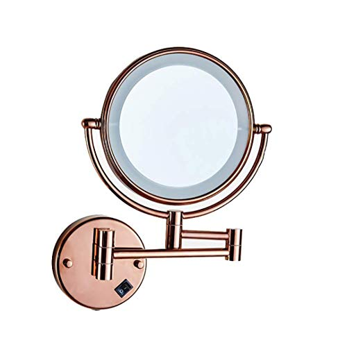Round Pink Venetian Mirror - Lufskty 8 Inch Extendable Lighted Makeup Mirror, Bathroom 5X Magnification LED Mirror, Solid Brass, Wall Mounted Round 5X - Plug