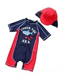 SUPEYA Baby Boys Cartoon Sunsuits Half Sleeve Sun Protection Rash Guards Swimsuit