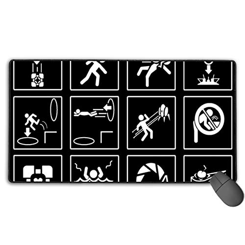 Extended Gaming Mouse Pad Sign Portal Funny Graphics Rectangle Rubber Mousepad 29.53 X 15.75 Inch Anti-Slip XXL Computer Mat ()
