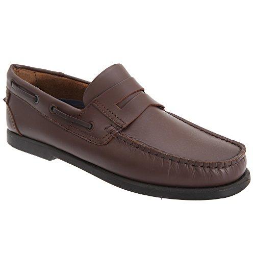 Hommes Brun Casual Selle Foncé Dek Cuir Chaussures 8xq1waaT