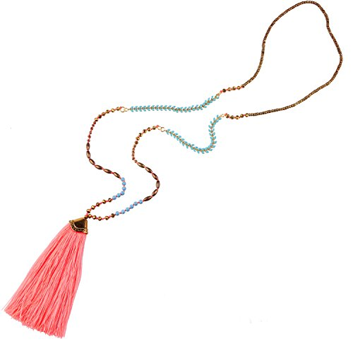 Tassel Necklace Strand (KELITCH Turquoise Crystal Beads strand Necklace Tassel Layering Style Pendant Necklace Fashion women new Jewelry (Pink))