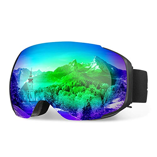 (ENKEEO Ski Goggles Detachable Dual Layer Anti-Fog Lens 100% UV400 Protection, Bendable Frame, Anti-Slip Strap with Comfort, Wind Resistant 3 Layers Foam for Adult Snowboarding Skating, Magnet Green)
