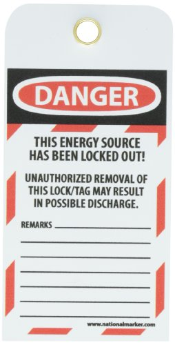 NMC LOTAG40''DANGER - DO NOT OPERATE ELECTRICIANS AT WORK'' Lockout Tag, Unrippable Vinyl, 3'' Length, 6'' Height, Black/Red on White (Pack of 10) by NMC (Image #2)