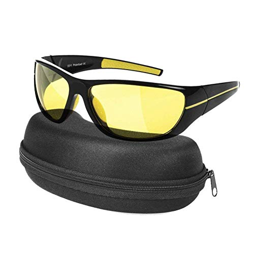 HD Night Sight Vision Glasses for Protected Safety Rainy Driving, Anti Glare Glasses with UV400 Yellow Polarized Lenses, Unisex Stylish Reflective Sunglasses for Women Men with Glasses Case by Night Vision Glasses