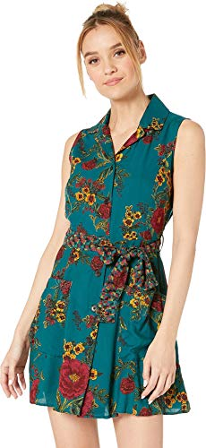 Angie Women's Button Front Tie Waist Sleeveless Shirtdress w/Pockets Teal Medium