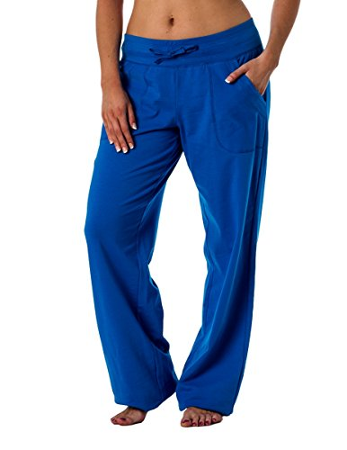 (Alki'i Women's Straight Leg Knit Lounge Pants with Pockets, Royal M)