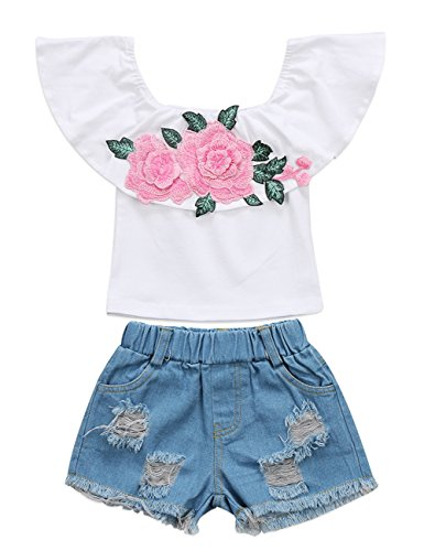 Little Girls Off-Shoulder Rose Embrodidery Applique Ruffle Top and Denim Shorts Outfit (5-6T, Pink)