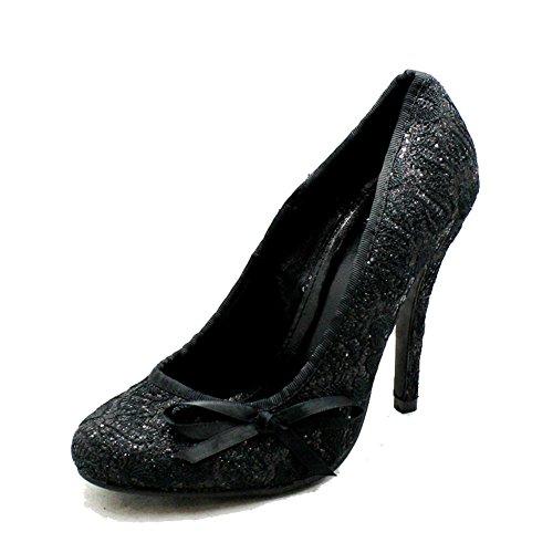 redonda alto tacón Black punta relieve de zapatos en Glitter en 8xnqIfwZxB
