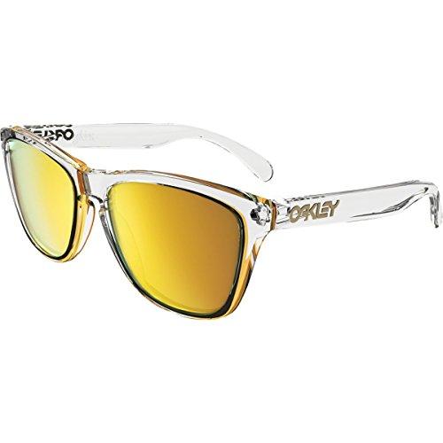 Oakley Men's Frogskins Non-Polarized Iridium Square Sunglasses, Polished Clear, 55 mm