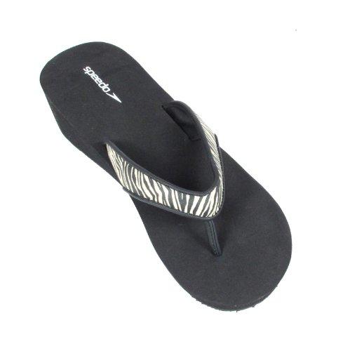 Speedo Womens Fun Thong Flip-flop Wedge Sandal 9 Black/White