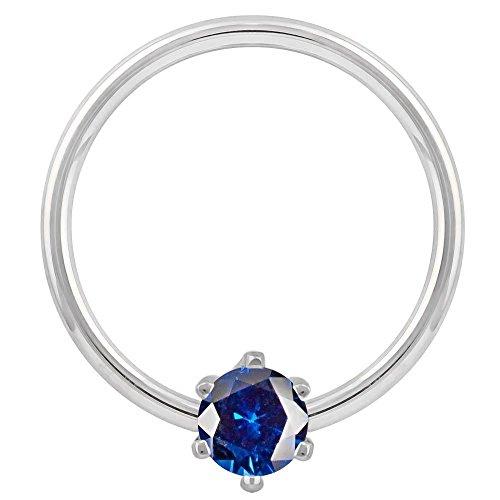 3mm Dark Blue Round Prong CZ 14K White Gold Captive Bead Ring 16G 3/8