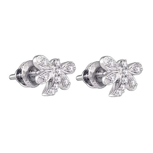 Jewel Tie Solid 10k White Gold Round Diamond Butterfly Dragonfly Bug Stud Earrings (1/10 Cttw.)
