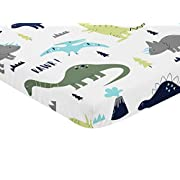 Sweet Jojo Designs Navy, Turquoise and Grey Dinosaur Baby Fitted Mini Portable Crib Sheet for Mod Dino Collection