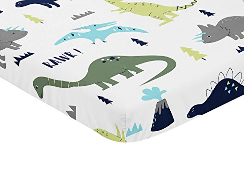 Sweet Jojo Designs Navy, Turquoise and Grey Dinosaur Baby Fi