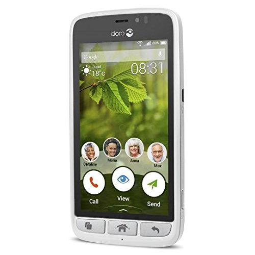 Doro 8031 4G Smartphone (11,4 cm (4,5 Zoll), LTE, 5 MP Kamera, Android 5.1) weiß/silber