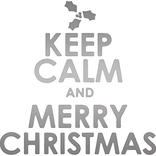 SAYING QUOTE KEEP CALM AND MERRY CHRISTMAS MISTLETOE (METALLIC SILVER) (SET OF 2) PREMIUM WATERPROOF VINYL DECAL STICKERS FOR LAPTOP PHONE CAR WINDOW BUMPER MUG TUBER CUP DOOR WALL ()