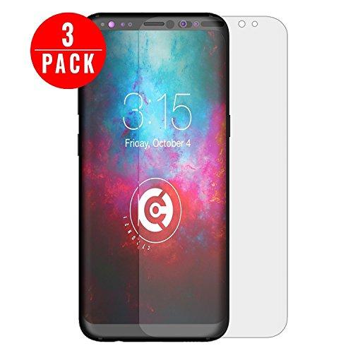 [3 Stück] cTRON21® Schutzfolie Samsung Galaxy S8 [Vollständige Abdeckung] Displayschutzfolie [TPU] HD [Keine Bläschen] Kratzfest NEUE VERSION - RUNDUNGEN HAFTEN