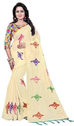 b8a2240c6e64bb Shreeji Export Chanderi Cotton Saree (SD-2250-1 Off-White Free Size)