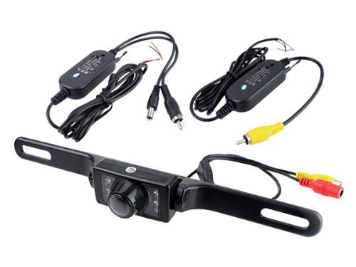 BW 2.4G Wireless Car License Mount Rear View Backup Camera 7 IR LED Night Vision with Transmitter & Receiver (Waterproof Ip67 / Color Cmos / 135 Degree Viewing Angle/Distance Scale Line)