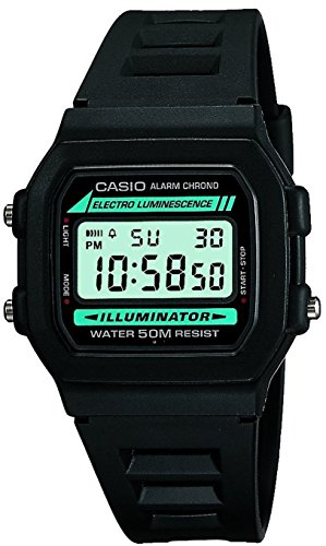 - Casio #W86-1V Men's Standard 50M Chronograph Alarm Digital Watch with Luminous Light