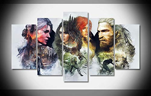 My Canvas Art 5pcs The Witcher 3 Wild Hunt 01 Artwork Prints for Living Room Home Decoration Framed Ready to Hang