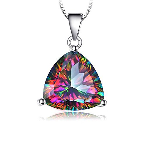 VERA NOVA JEWELRY Dashing 5.79Ct Multicolor Mystic Topaz Triangle-Shape Sterling Silver Pendant Necklace with 18-inch Box Chain