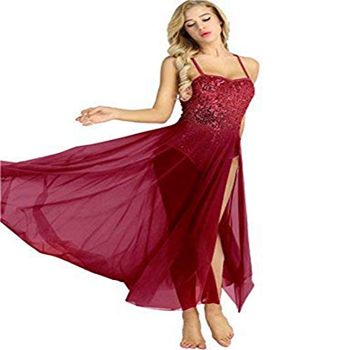 - Yeahdor Women's Sequined Contemporary Performance Lyrical Dance Costumes Dresses Flowy Spilt Maxi Skirt Wine Red Small