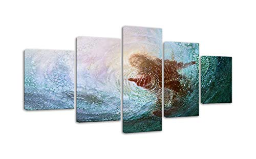 - AMEMNY Jesus Reaching Into Water Wall Art Christ Poster Canvas Prints The Hand of God Home Decor for Bedroom Living Room Pictures HD Printed Painting 5 Pieces Artwork Framed Ready to Hang