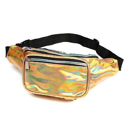Dolores Holographic Fanny Pack Waist Bags for Women Men Fashion Belt Waist Bum Bag Hip Pack Water-Resistant Beach Travel Purse Gold ()
