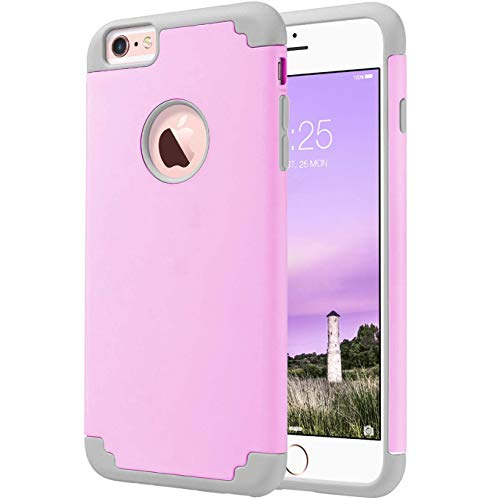 Phone 6S Plus 5.5 inch Case, Hard PC TPU Rubber Rugged Combo Protective Case Heavy Duty Protective Scratch-Resistant Slim Fit Anti-Scratch Cover for iPhone 6 Plus & iPhone 6S Plus 5.5 inch-Pink